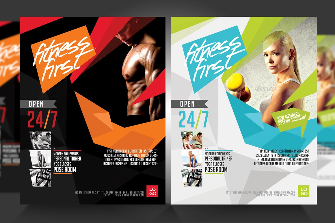 fitness flyer gym flyer v3 flyer templates creative market. Black Bedroom Furniture Sets. Home Design Ideas