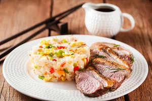 Fried duck breast and jasmine rice