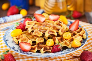 Belgian pumpkin waffles