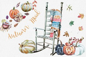 Watercolor Autumn Mood Clipart