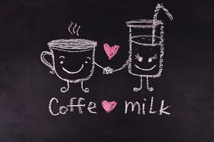 Coffe love milk. Heart. Love. Valentine Day