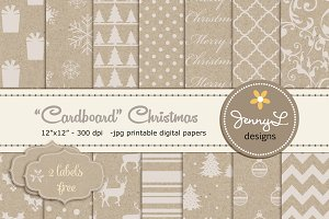 Cardboard Christmas Digital Paper