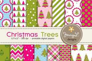 Christmas Trees Digital Papers