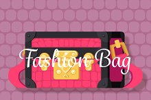 Pink fashion woman bag flat vector