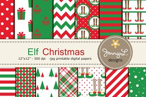 Elf Christmas Digital Papers