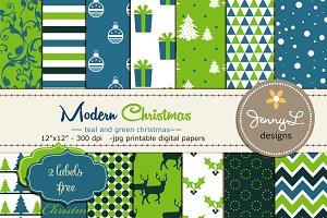 Modern Christmas Digital Papers