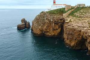 Lighthouse on cape, Portugal.