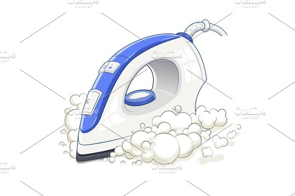 Iron with steam. Home device. - Illustrations
