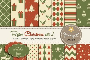 Retro Christmas Digital Papers 2
