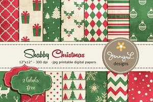 Shabby Christmas Digital Papers