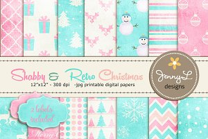 Shabby Retro Christmas Digital Paper