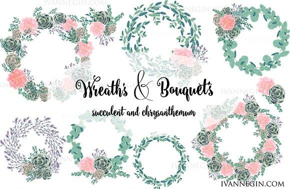 13 Succulents wreath clipart 4 card