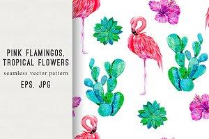 Pink flamingos, cactus pattern