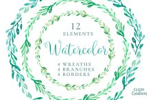 Watercolor Wreaths & Branches