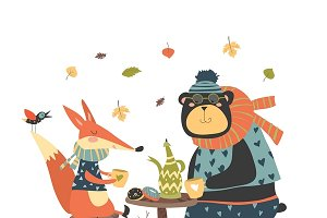 Fox and bear drinking tea