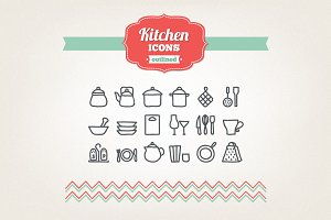 Hand drawn kitchen icons
