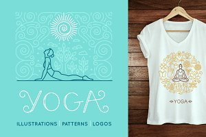 Yoga - illustrations and logos