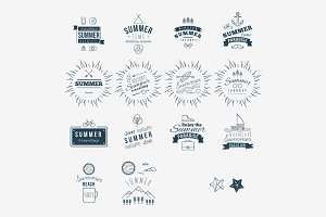 Retro hand drawn elements for Summer