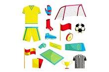 Soccer Icons set, cartoon style