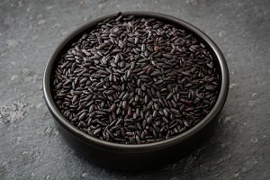 Black rice in a bowl