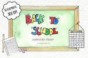 Watercolor Clip Art - Back to School
