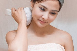 Young asian lady in spa