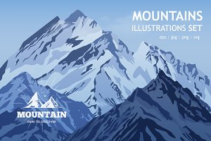 Mountain Vector Illustration Set