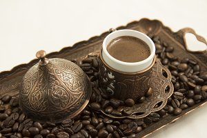 Turkish Coffee cup on Tray