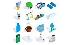 Snowboard icons set
