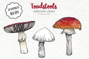 Watercolor Clip Art - Toadstools