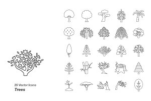 Trees outlines vector icons