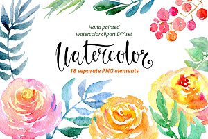 Watercolor flower clipart