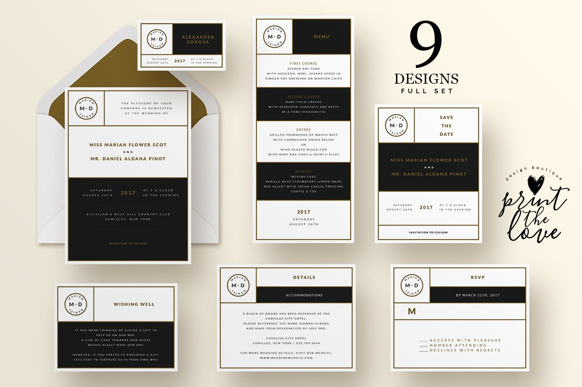 Wedding Invitation Suite - Leganto ~ Invitation Templates ~ Creative ...