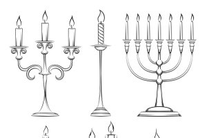 Vector hand drawn candlesticks