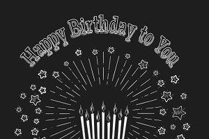 Birthday cake chalkboard card