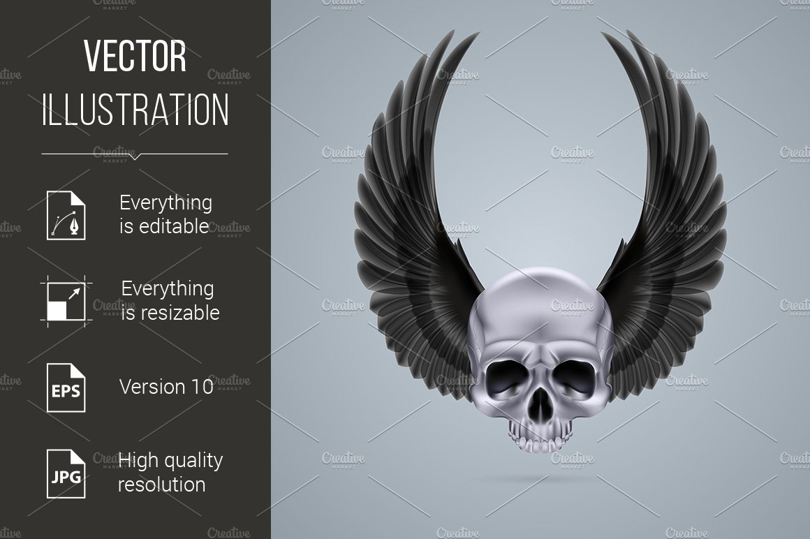 Metal Chrome Skull With Two Wings Up Graphics Creative Market
