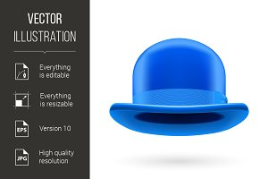 Blue bowler hat