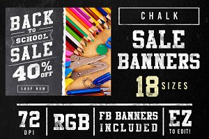 Chalk Back to School Sales Banners