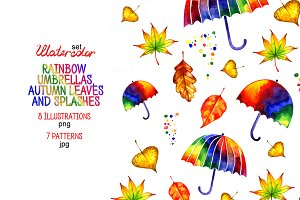 Watercolor autumn rainbow umbrellas.