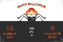 Halloween costumed kids & cards
