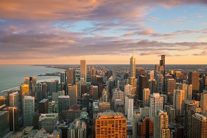 Chicago skyline at sunset