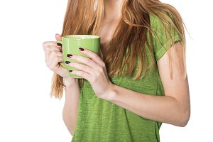 woman hands hold coffee cup