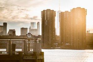New York City viev under sunset