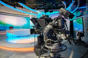 TV NEWS cast studio with camera