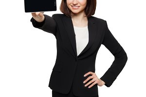Business woman show mobile cell phone display