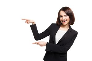 Smile Business woman show fingers isolated