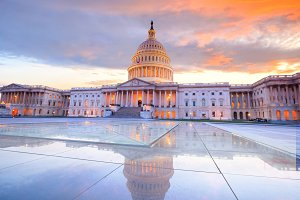 The United States Capitol sunset