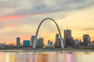 St. Louis skyline at sunsett