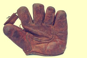 Old leather baseball glove