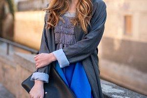 Beautiful fashionable woman clutch